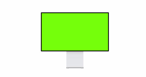 Desktop PC mockup with blank green screen, front view Animation