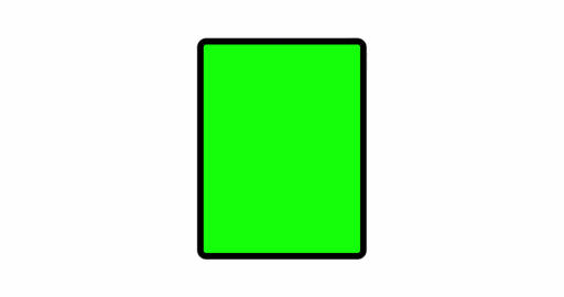 Tablet computer vertical mockup with blank green screen, front view Animation