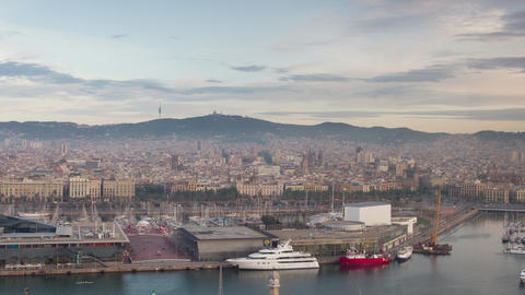 Tilt shift timelapse of commercial port and city of barcelona Live Action