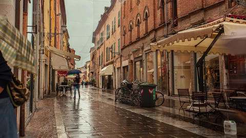 Time Lapse of Evocative view of a street in the historic center of Ferrara Live Action