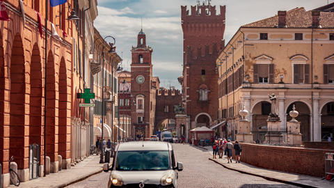 Time Lapse of Evocative view of the avenue that leads to the historic center of Ferrara Live Action