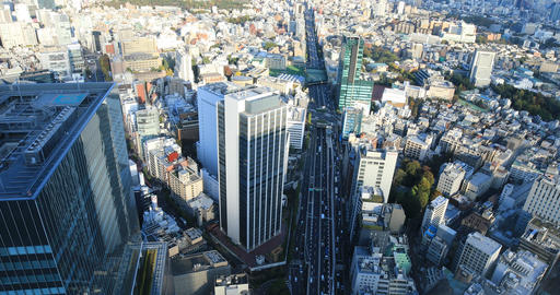 A panoramic cityscape at the urban city in Tokyo wide shot Live Action
