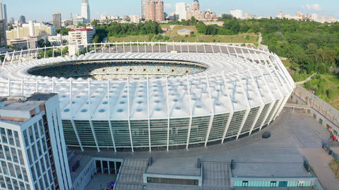 Evening Cityscape Aerial View of Kiev Olympic Stadium Live Action