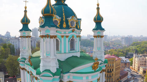 Fly Over St Andrew s Church in Kiev The Famous Andrew's Descent in the Capital of Ukraine Live Action