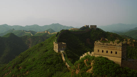 Great Wall of China and Green Mountains in Summer Sunset Mutianyu Section of the Great Wall Live Action