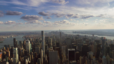 Incredible Aerial Cityscape Panorama Skyline of Manhattan Skyscraper Architecture of New York Live Action