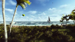 Summer time, people on the beach, air balloon and yacht sailing Animation