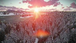 Sunrise over forest hills and sea, snowing Animation