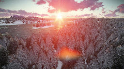 Sunrise over forest hills and sea, snowing Stock Video Footage