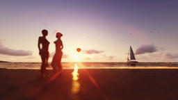 Sunset summer scene, girls on the beach, air balloon and yacht sailing Animation