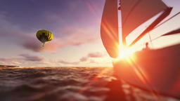 Sunset summer time, air balloon and yacht sailing Animation