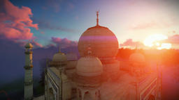 Taj Mahal, beautiful sunrise, right tower viewport, camera fly Animation