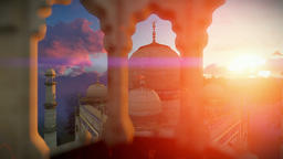 Taj Mahal, beautiful sunrise, right tower viewport Animation