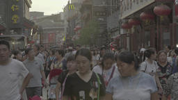 Beijing. China. Crowded street. The Population Of China Live Action