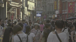 City view of Beijing. The Streets Of Beijing. People walking down the street Footage