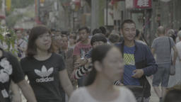 People crowded the street in Beijing. China. Views of the city Footage