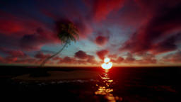 Tropical island with palm tree surrounded by ocean, beautiful timelapse sunrise Animation