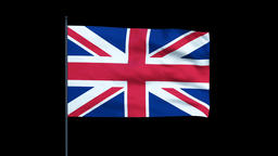 United Kingdom Flag Waving, Seamless Loop, Alpha Animation