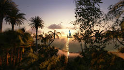 Tropical island and yacht sailing, timelapse sunset, tilt up Animation