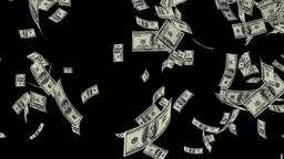 US Dollars Falling, against black Animation