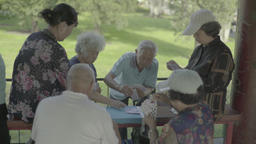 Elderly residents of Beijing are playing cards. China. Views of the city Live Action