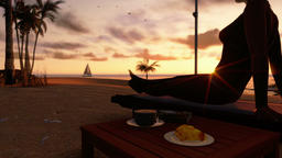 Woman on the beach with breakfast and yacht sailing at sunrise Footage