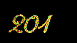 2016 Happy New Year made from colorful particles against black Animation