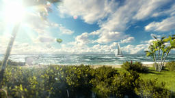Woman runnin on the beach, air ballon and yacht sailing against timelapse clouds Animation