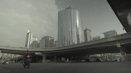 Street in the business center of Beijing . Cityscapes of Beijing. China Footage