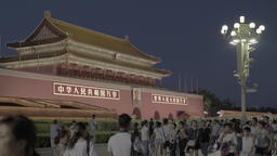 Tiananmen square by night. The entrance to the Forbidden City . Beijing . China Footage