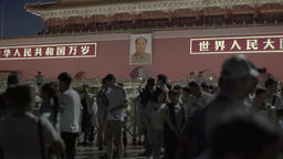 Chinese. Beijing. Night Tiananmen Square. The Portrait Of Mao Zedong Footage