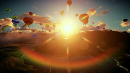 Air balloons flying above lake surrounded by mountains, beautiful sunrise, camer Animation