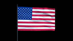 America Flag Waving, Seamless Loop, Alpha Animation