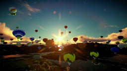 Air balloons flying above lake surrounded by mountains, beautiful sunset, travel Animation