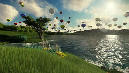 Air balloons flying over beautiful lake and green meadow surrounded by mountains Animation