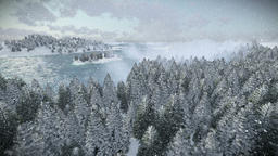 Beautiful morning over forest hills and sea, snowing Animation