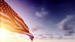 American Flag against Time Lapse Clouds Animation