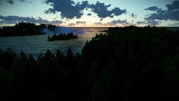 Beautiful timelapse sunrise over forest hills and sea Animation