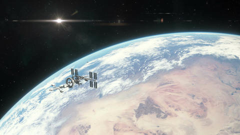 Spaceship Leaving Earth Orbit Animation