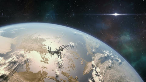 Spaceship Orbiting Exoplanet Animation