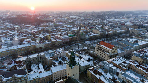 Lviv City Centre in Snow From Above in Winter Lviv Ukraine Live Action