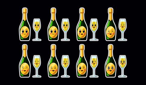 Cartoon Kawaii Champagne, Christmas Sticker set. New Year Vector