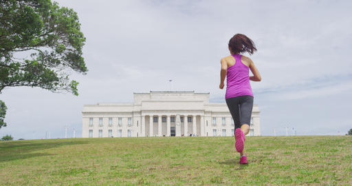 Running woman in Auckland Domain by Auckland War Memorial Museum New Zealand Live Action
