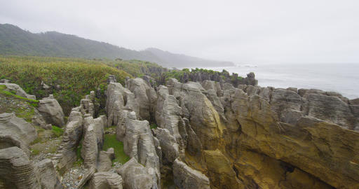 New Zealand Punakaiki Pancake Rocks tourist travel in Paparoa National Park Live Action