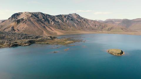 Panoramic aerial view of Landmannalaugar mountains and lake,Fjallabak Nature Live Action