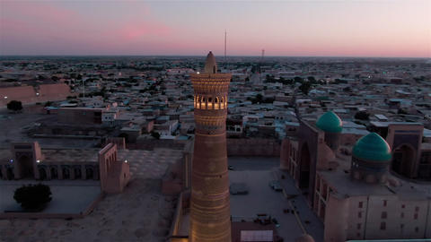 Panorama of old Bukhara and Kalyan Minaret in the evening, drone aerial ライブ動画