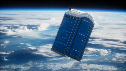 Portable street WC toilet cabin on Earth orbit Live Action