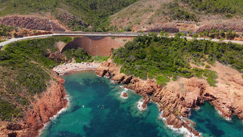 Amazing aerial view over Cap Roux in France at the Cote D Azur Live Action