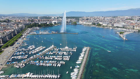 Geneva marina - boats on Lake Geneva from above Live Action