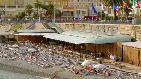 Famous Castel Beach in Nice at the Cote D Azur - CITY OF NICE, FRANCE - JULY 10 Live Action